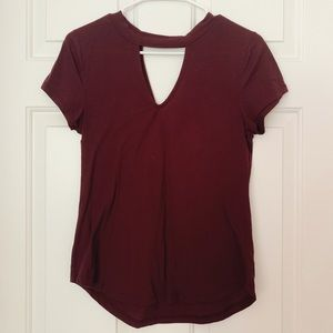 BURGUNDY TOP WITH CUT OUT ON NECKLINE